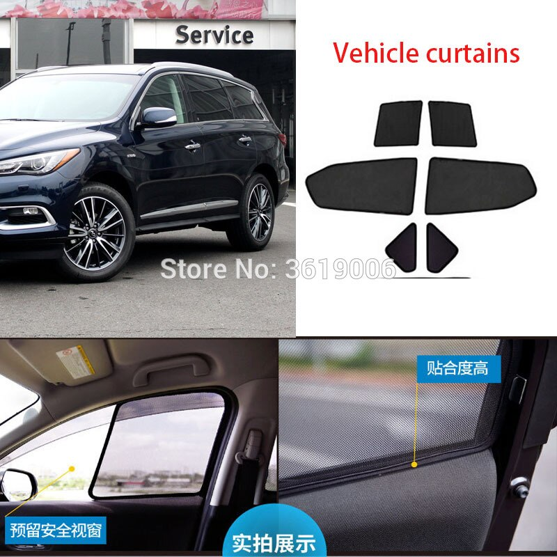 6 uds. De gama alta personalizados para Infiniti QX60 14-19 tipo de tarjeta magnética cortina de coche parasol de la ventana del coche