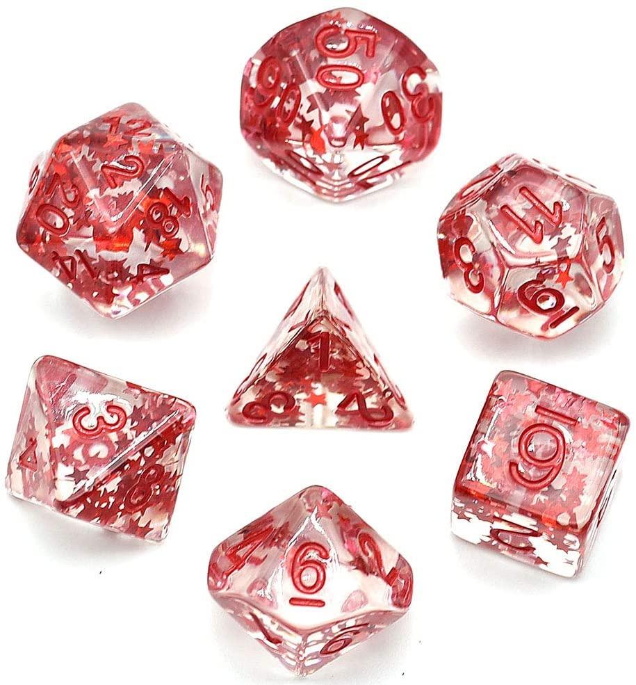 7 unids/set DND Dice D & D dados con el rojo estrella D4 D6 D8 D10 D % D12 D20 poliédrico juegos juego de dados de mesa juegos MTG RPG