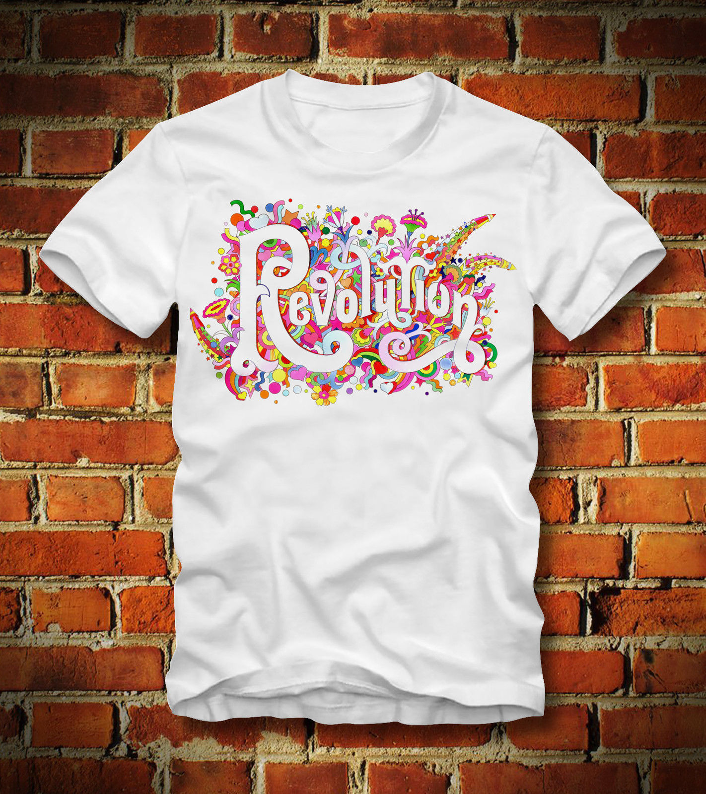 Camiseta revolución 60s 70s WOODSTOCK GROOVY HIPPIE flor poder LOVECartoon camiseta hombres Unisex nueva moda camiseta envío gratis