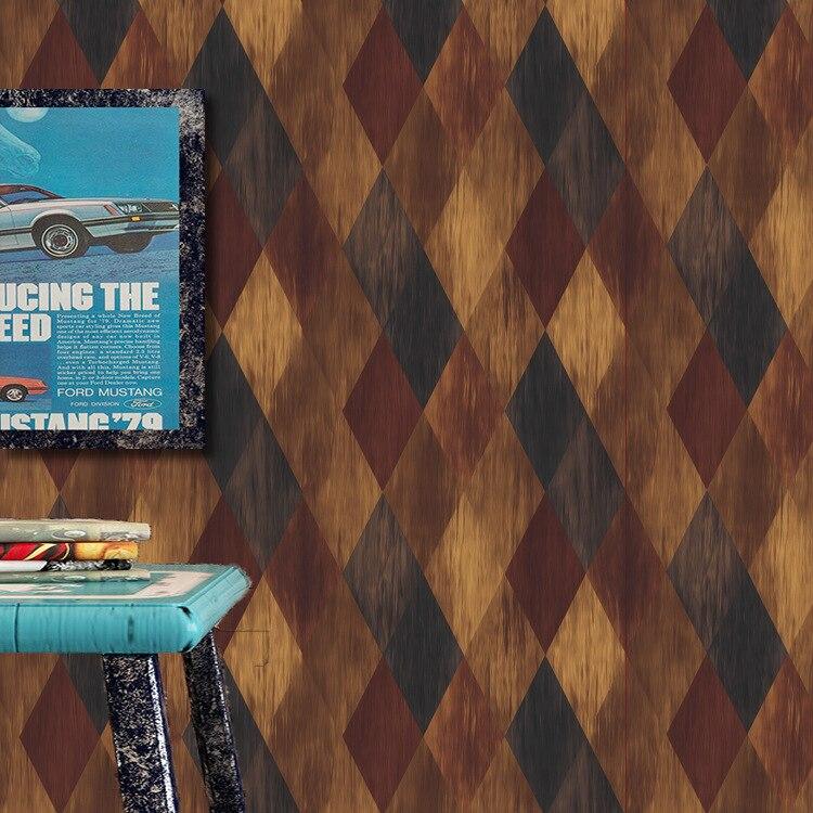 Pegatina de pared de madera impermeable de PVC, papel tapiz desgastado 3d con grano de madera, caja de hotel con forma de diamante, proyecto de hotel