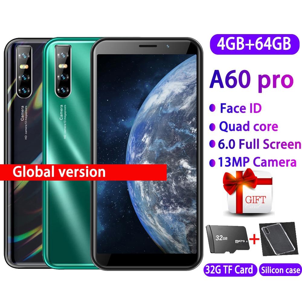 Teléfono Inteligente A60 pro, versión Global, 4 GB RAM, 64 GB ROM, quad core, cámara de 13,0mp, cámara de identificación facial, desbloqueo, móvil android WCDMA