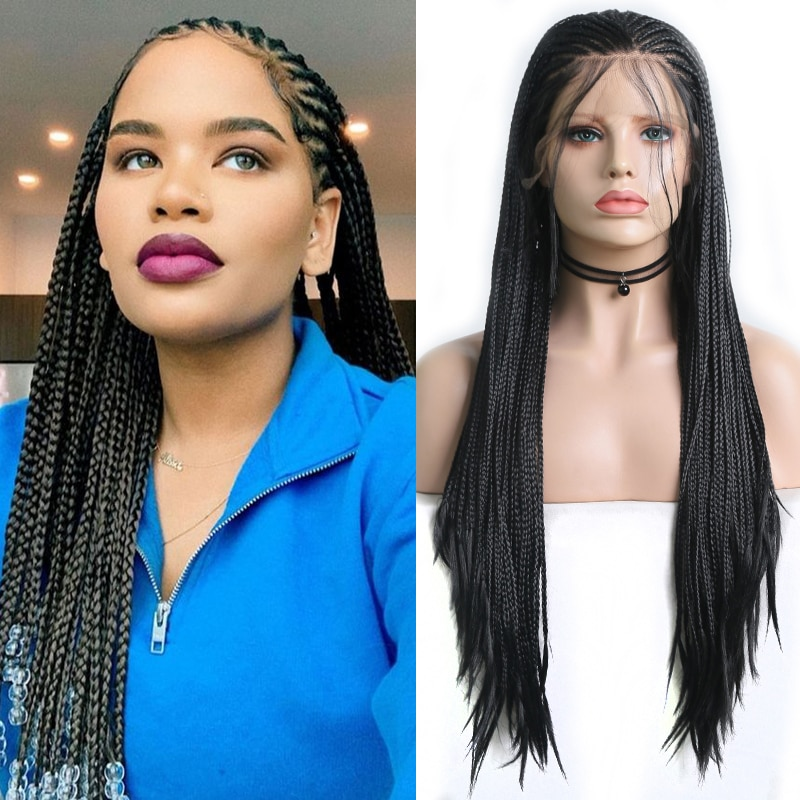 Charisma Black Wigs Synthetic Lace Front Wig with Baby Hair Side Part Long Box Braided Wig for Black Women Cosplay Wigs
