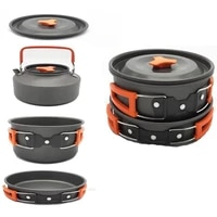 aluminum alloy outdoor camping cookware kit portable 2 3 person kettle fry pan pot cooking travel picnic set camping equipment