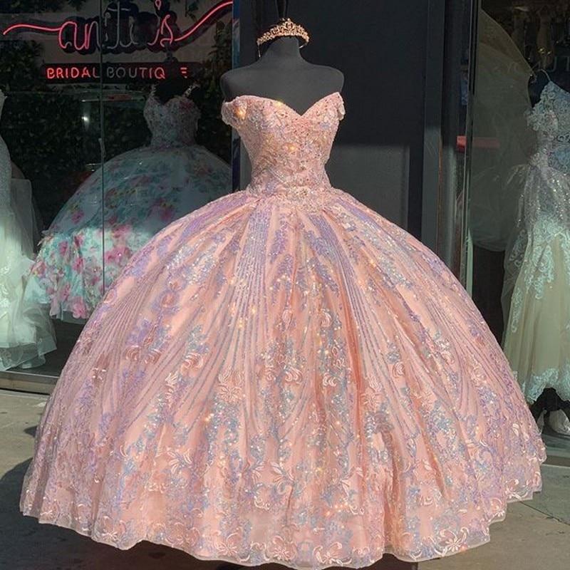 فساتين Quinceanera باللون الوردي الوردي الحلو 16 الأميرة قبالة الكتف تول الدانتيل الترتر حفلة موسيقية للفتيات Vestidos De 15 Anos