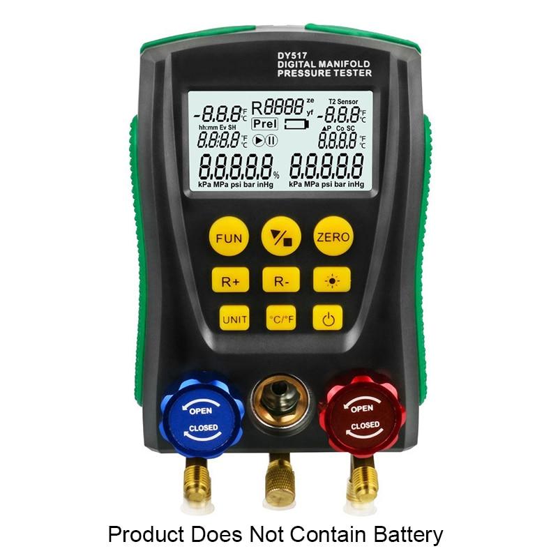 DY517 متعددة الرقمية الرقمية قياس الضغط التبريد فراغ ضغط المنوع تستر HVAC جهاز قياس درجة الحرارة للسيارة