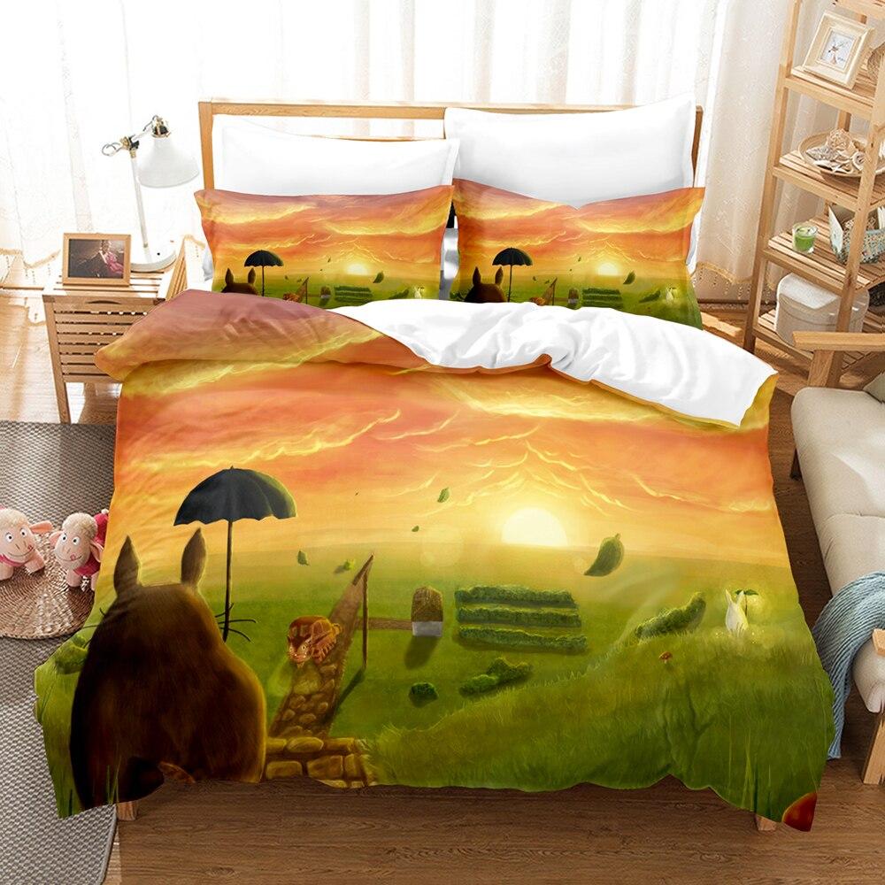 بلدي الجيران توتورو طقم سرير واحد التوأم كامل الملكة الملك الحجم جينشين تأثير مجموعة للأطفال غرفة نوم Duvetcover مجموعات 0116