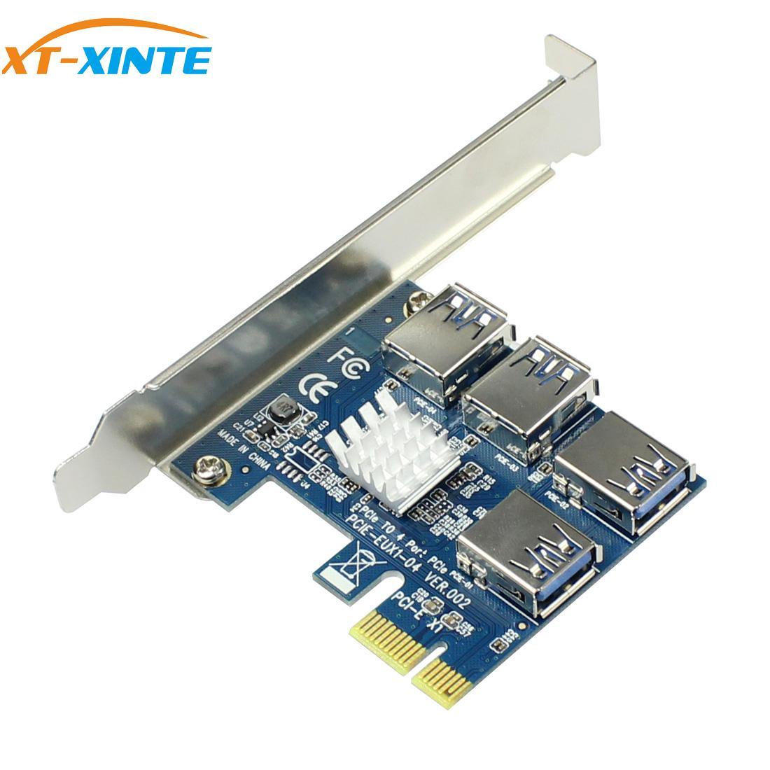 PCIe 1 to 4 PCI-express 16X slots Riser Card PCI-E 1X to External 4 PCI-e USB 3.0 Adapter Multiplier