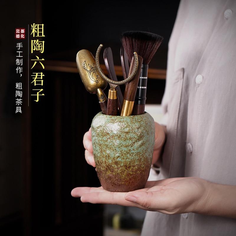 حفل شاي خشب الأبنوس الحجري ، اكسسوارات طقم شاي الكونغ فو الياباني ، ملعقة شاي ، مشبك شاي ، فرشاة شاي ، سكين شاي