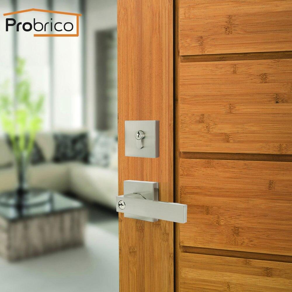 Manija de puerta Interior Probrico con cerradura de bloqueo de seguridad, cerradura silenciosa dividida para puerta, muebles, manija de puerta Interior, juego de cerradura