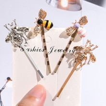 1Pcs Kawaii Mini Bee Diamant Metalen Haar Clip Haarband Kam Bobby Pin Barrette Haarspeld Hoofdtooi Accessoires Beauty Styling Gereedschap