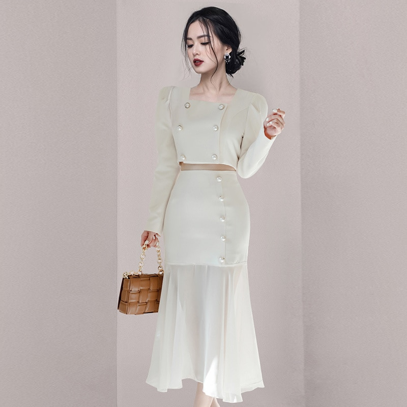 Новинка 2021, костюм из двух предметов для ранней осени, костюм с длинным рукавом, модный белый приталенный костюм с высокой талией