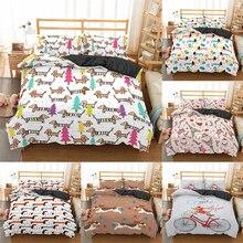 Комплект постельного белья такса, высокое качество, пододеяльник, мультяшное одеяло с изображением животных, мягкое постельное белье с дву...