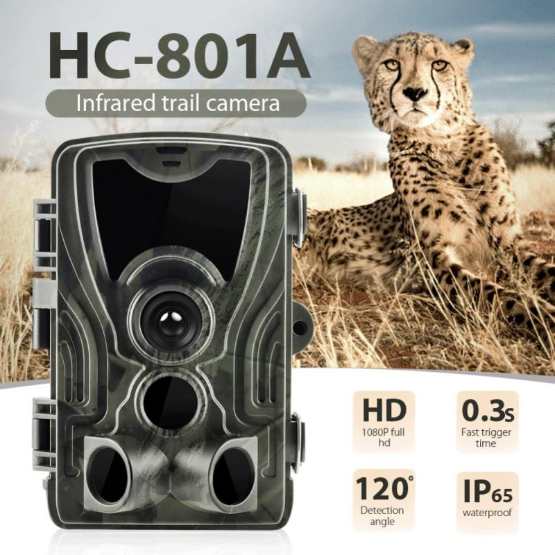 Cámara de caza HC801A, 16MP, 32GB/64GB, cámara de rastreo IP65, trampas para fotos, 0,3 s, tiempo de disparo, cámara salvaje de 940nm, cámara impermeable 1080P