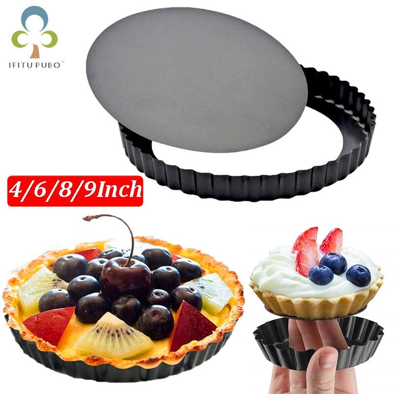 Антипригарная Tart Quiche Flan Pan формочки пирог для пиццы круглые формы для выпечки Съемная свободная Нижняя рифленая сверхмощная сковорода для пирога посуда для выпечки GYH