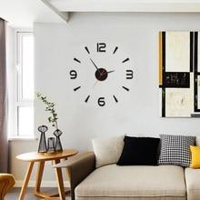 Digital bar DIY small clock red/Modern  3D Mirror Surface Wall Clock Sticker Home Office Room DIY Decorative Clock Stickers