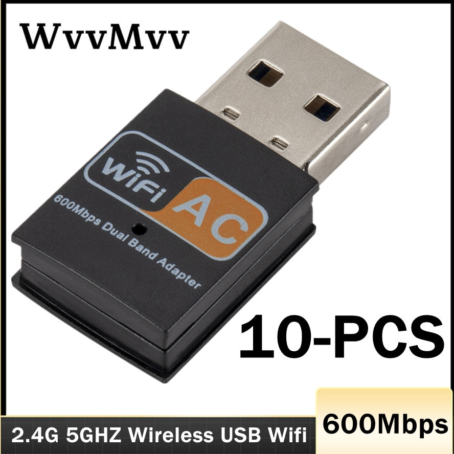 WVVMVV USB Wifi Adapter 802.11b/g/n Antenna 600Mbps USB2.0 Wireless Receiver Dongle Network Lan Card for Laptop TV BOX Wi-Fi