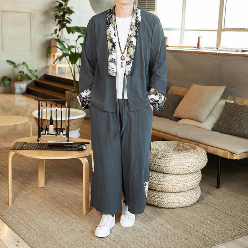Traje de lino y algodón de estilo japonés para hombres, ropa de calle holgada Vintage de talla grande para hombre, nueva camisa Komono + Pantalones de pierna ancha, conjuntos de 2 uds