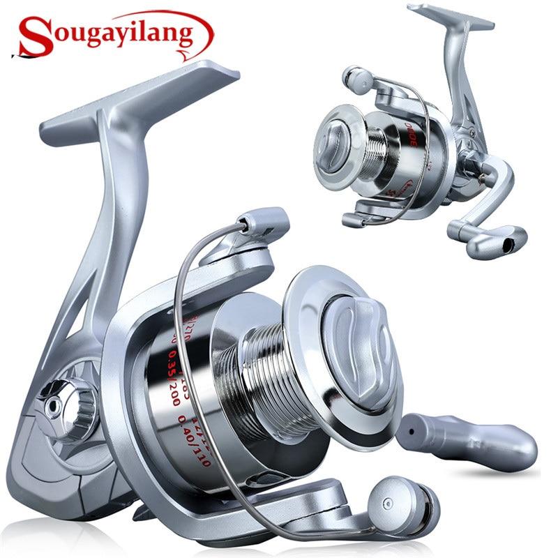 Carretes de pesca Sougayilang 1000-3000, velocidad 5,2: 1 Ratio de engranaje, carrete de pesca de mano derecha/izquierda, carrete de pesca de agua dulce salada