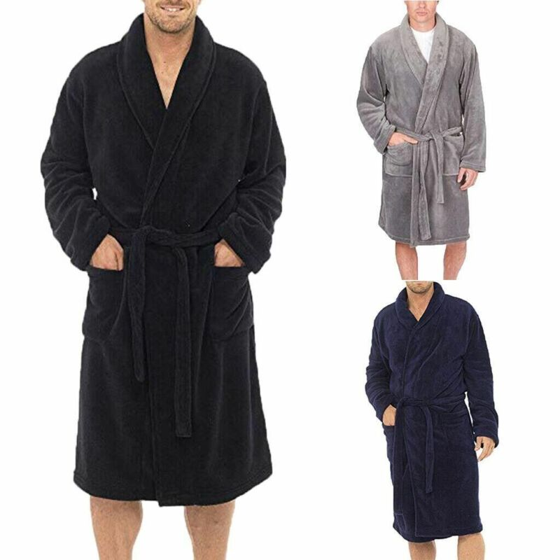 Men's Winter Warm Robes Thick Lengthened Plush Shawl Bathrobe Kimono Home Clothes Long Sleeved Robe Coat peignoir homme