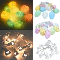 10led colorful easter egg rabbit string light battery powered easter decoration light garland for home party wedding ornaments