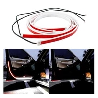 olomm 2pc car door open warning lamp flashing led lights strip anti collision safety front rear safety warning light