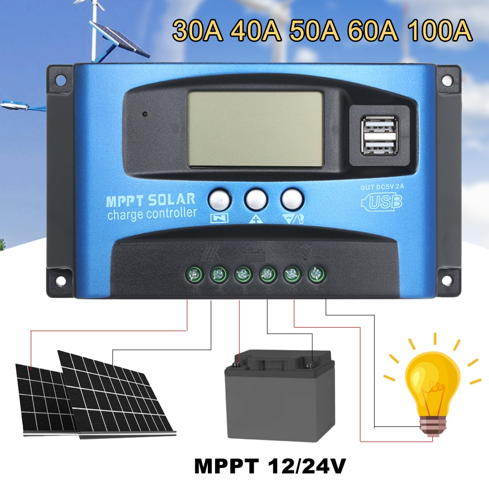 MPPT controlador de carga Solar Dual USB pantalla LCD de Panel de celda Solar del Regulador del cargador de MPPT 60A 30A 40A 50A 100A Solar Regulador
