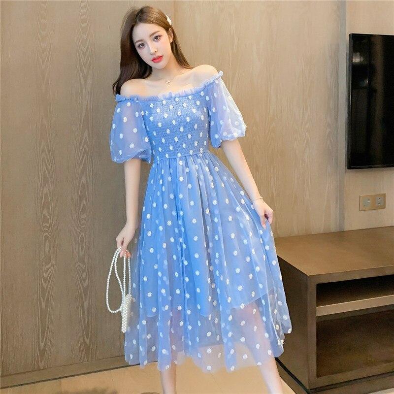 Daisy Floral Embroidery Summer Mesh Dress Women Slash Neck Elastic High Waist Mesh Long Midi Dress Sexy Boho Beach Sundress A860