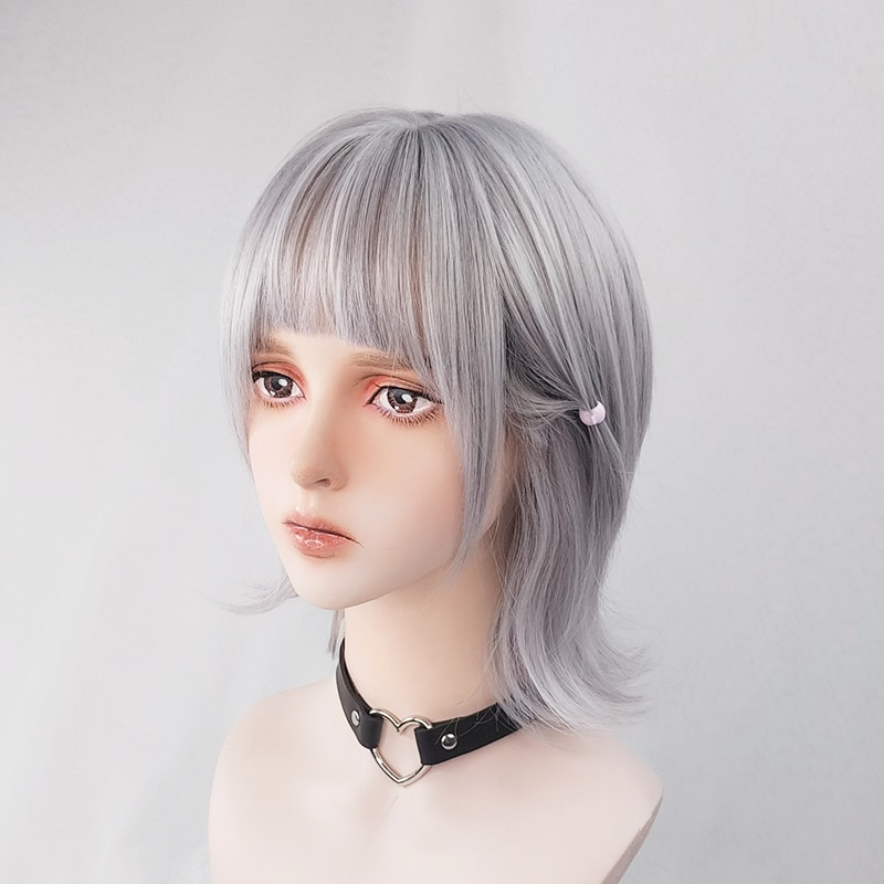 Silver Grey Mullet Hair Harajuku Cool Wig Shoulder Short Curly Gray Kawaii Lolita Adult Chic Girls Women Cosplay Casual Wear