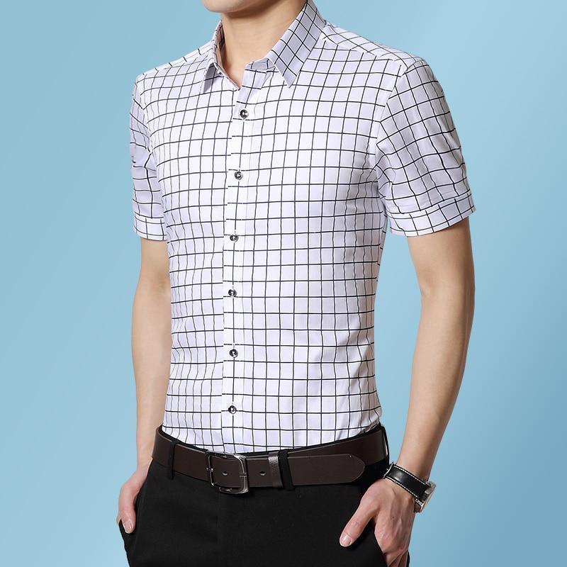 Мужская Повседневная рубашка в клетку, мягкая дышащая Классическая рубашка из 100% хлопка, с короткими рукавами, в клетку