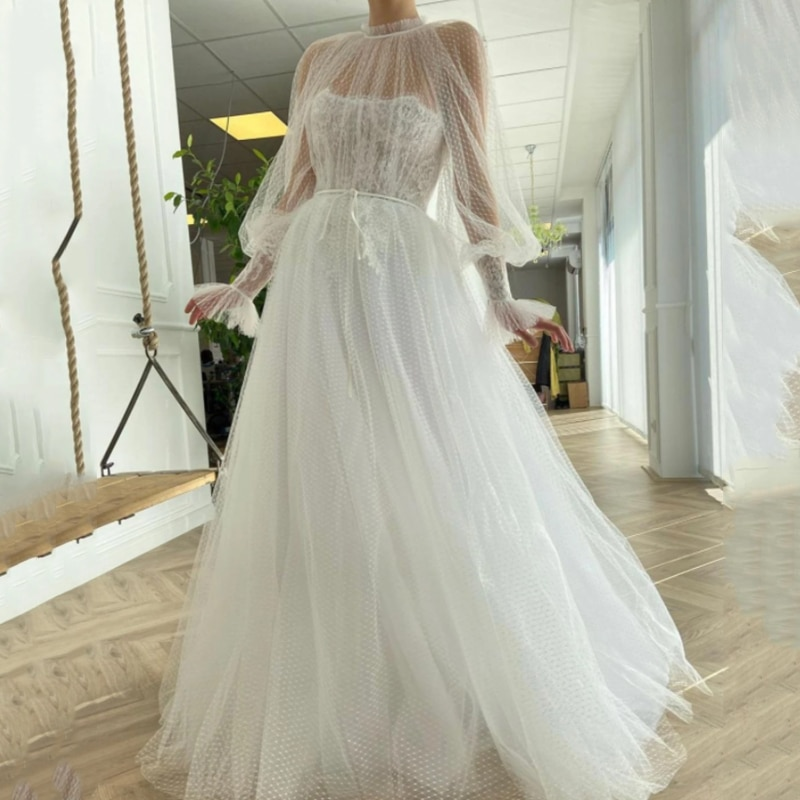 Eightree Dots Tulle Hot Sale Bohemian Wedding Dresses 2021 Lace Long Sleeve Bride Dress Gowns Sash Boho
