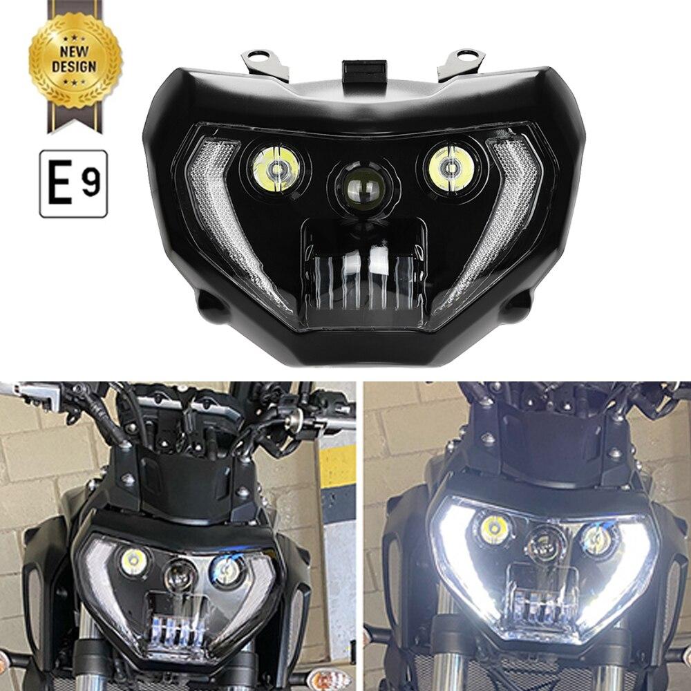 MT09 MT07 المصباح مقاوم للماء دراجة نارية المصباح DRL LED كشافات الجمعية ل MT 07 MT-07 2018 2019 MT 09 MT-09 2014-2016