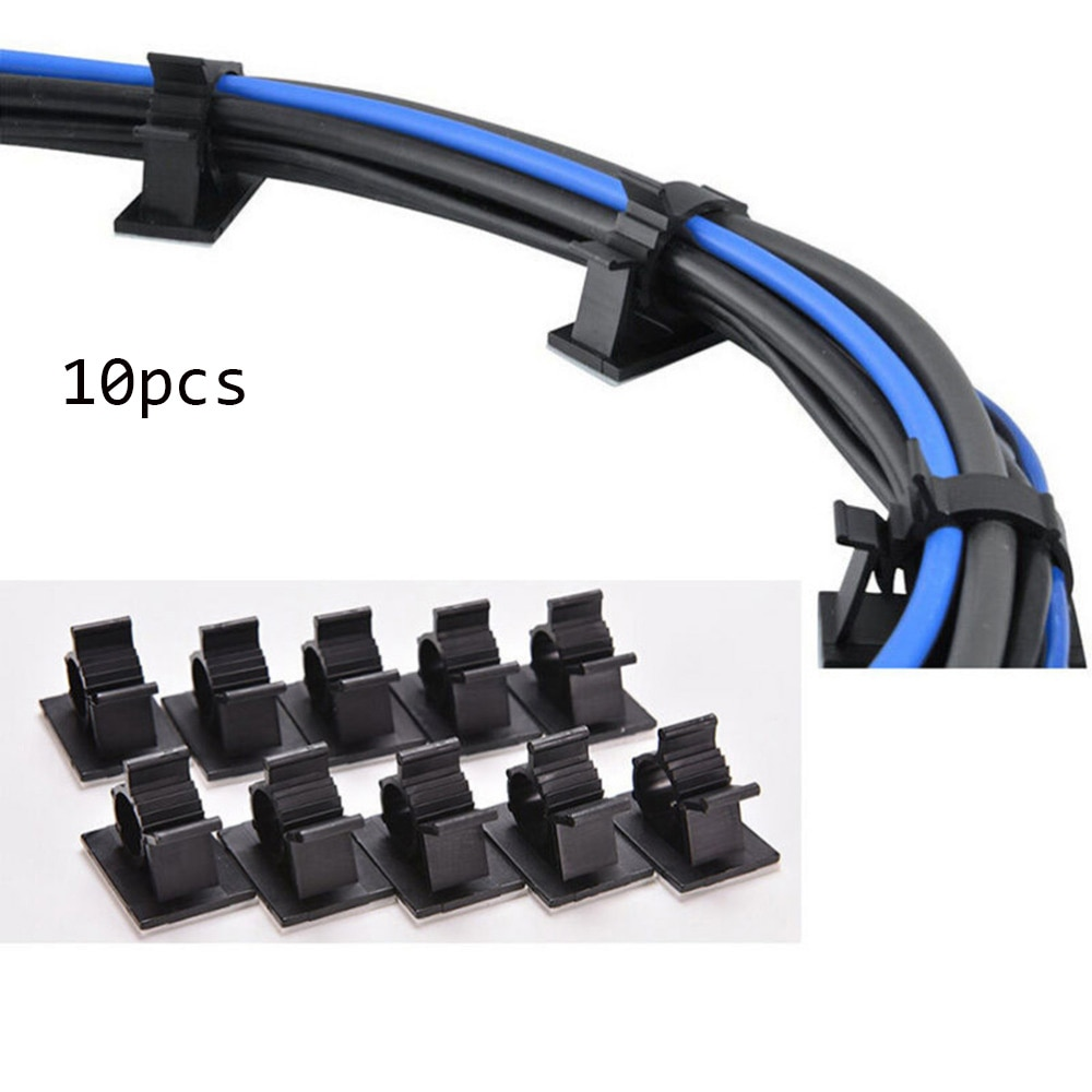 10pcs Adjustable 16mm Black Adhesive Backed Nylon Wire Cable Clips Clamps  Organizer Winder Wire Holder Desk Accessories
