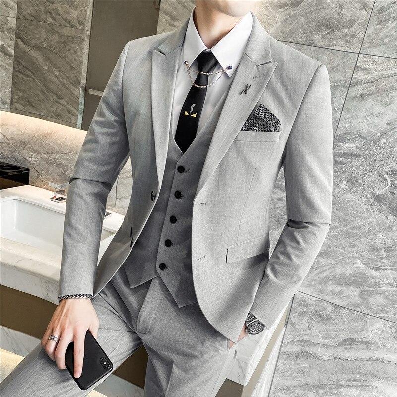 (جاكيتات + سترة + بنطلون) 2021 الرجال جودة عالية القطن الخالص الأعمال بليزر/ذكر سليم صالح بدلة على الموضة 3 قطعة العريس فستان الزفاف