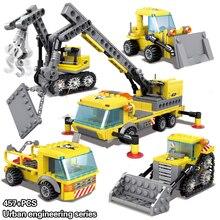 4in1 Heavy Crane City Construction Transporter Bulldozer Excavator 457Pcs Building Blocks Bricks Toys for Children