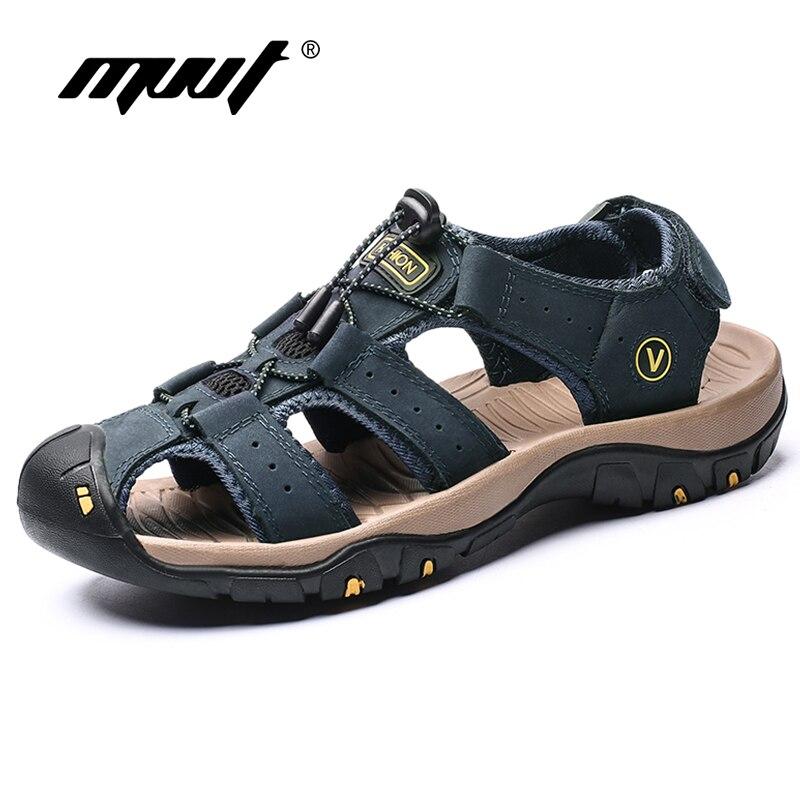 Sandalias de cuero genuino para hombre, zapatos de verano para hombre, sandalias de playa suaves, zapatillas de deporte informales antideslizantes de moda para exteriores, zapatos de agua