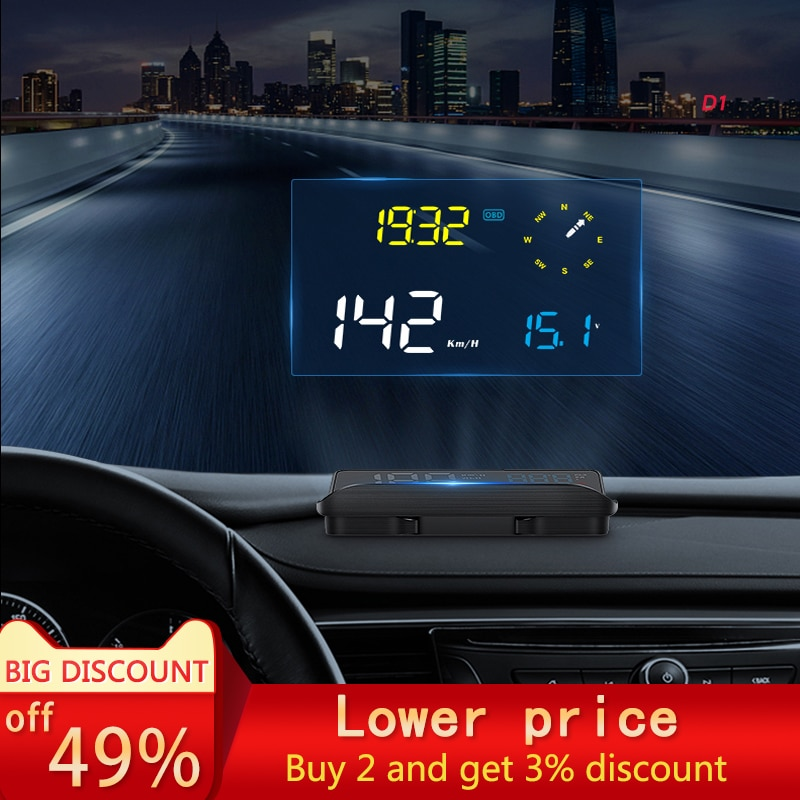 2021 new car HUD head-up display car universal OBD+GPS navigation dual-mode speed multi-function HD smart projector D1 model