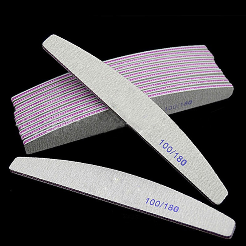 Professional Nail File 100/180 Half Moon Sandpaper Nail Sanding  Grinding Polishing Manicure Care Tools