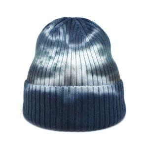 FUODRAO New Fashion Tie dye Beanies Hats Women Winter Cashmere Skullies Outdoor Hats Men Bonnet Unisex Warm Knitted Hat Z23