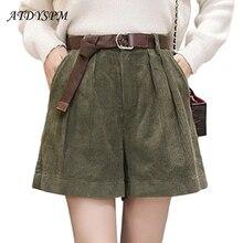 women autumn winter high waist velvet shorts loose wide leg casual shorts plus size 5XL elastic waist BIG pocket women shorts