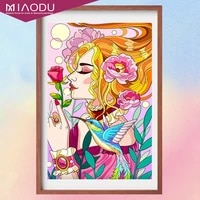 5d diamond painting colorful flowers girl and blue bird cross stitch kits embroidery mosaic full drill mosaic resin home decor