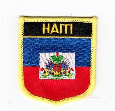 Parches de bordado Bandera Nacional emblema insignia escudo parches bandera de Haití de hierro en 7X6CM