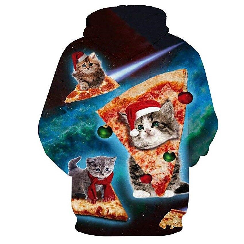 Sudadera con capucha con estampado Digital de gato 3D de Navidad de AliExpress Sudadera con capucha para hombre W226