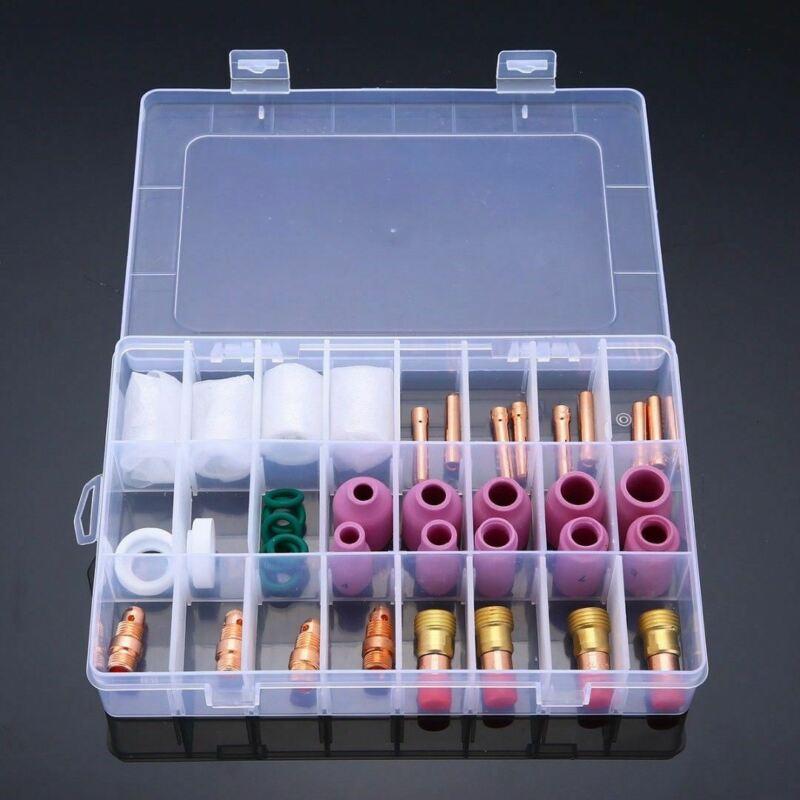 40 Uds., soplete de soldadura, boquilla, lente de Gas, vaso de cristal Pyrex para Tig WP-17/18/26