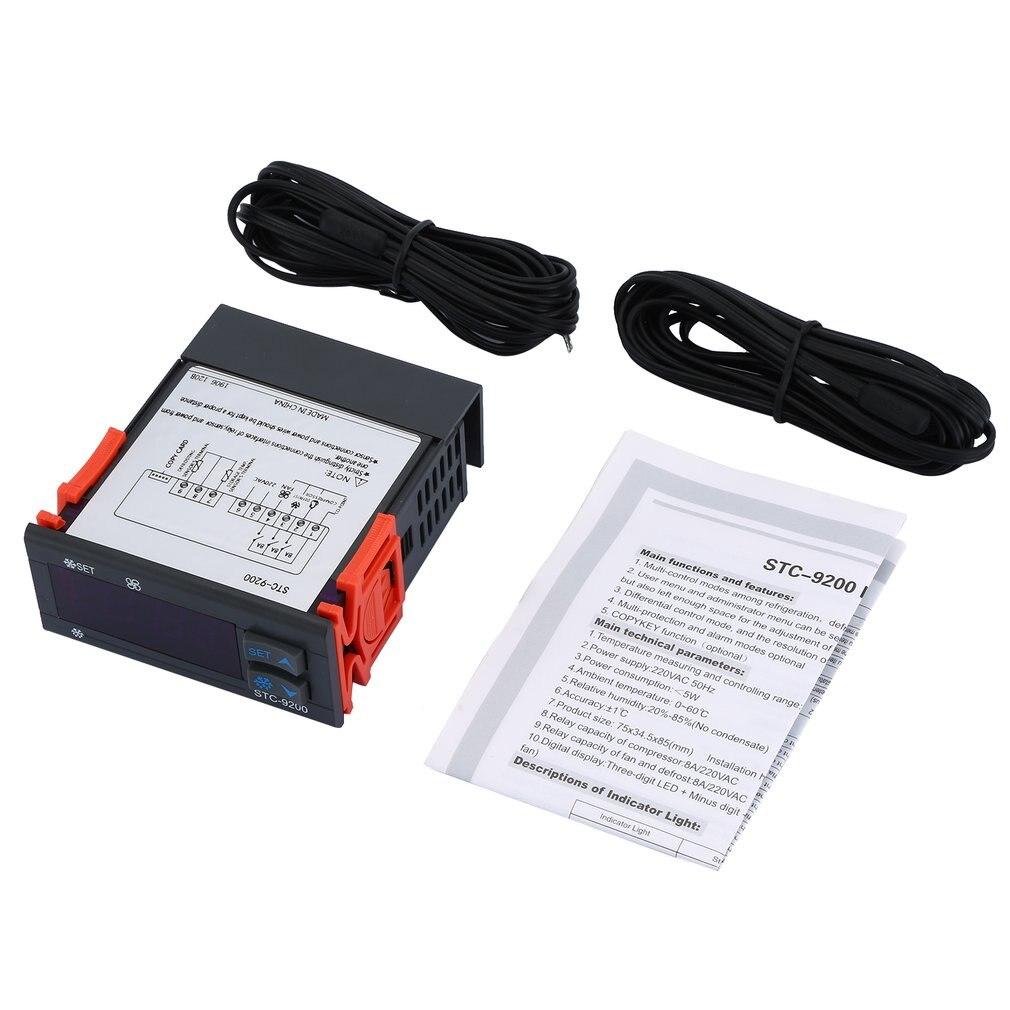 Regulador de temperatura Digital STC-9200, termorregulador del termostato con función de alarma de ventilador de descongelación de refrigeración