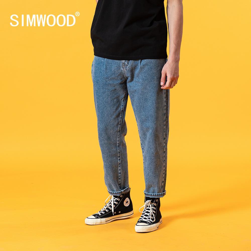 سيموود 2021 صيف جديد فضفاض مدبب جينز الرجال الكلاسيكية سراويل جينز حجم كبير 100% القطن الكاحل طول جان SJ130405