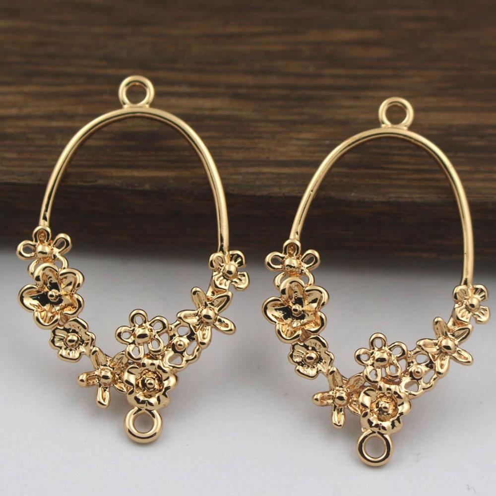 20 piezas conectores de flores de latón fundido ovalados espalda abierta huecos encantos calidad Color oro mujer nupcial boda accesorios de joyería