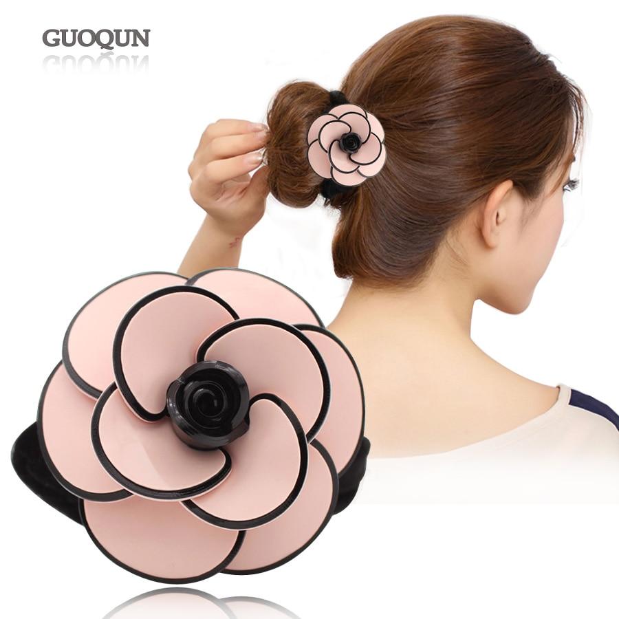Ponytail Holders - Camellia Flower Elastic Hair Ties for Women Girl - Hair Rope - Hair Accessory - Hair Ornament Jewelry Tiara