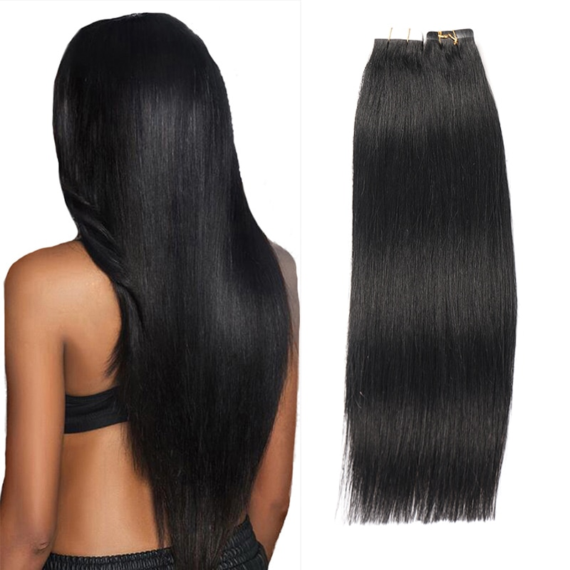 alishow tape in remy human hair extensions double drawn hair straight invisible skin weft pu tape on hair extensions Toysww Tape In Human Hair Extensions Russian Machine Remy Straight On Adhesive Invisible PU Weft Tape Human Hair