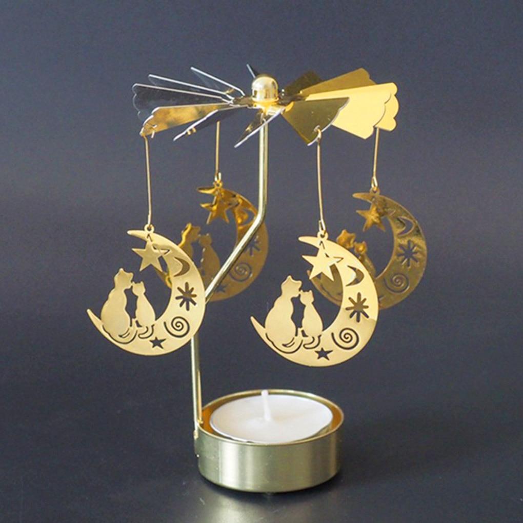 Silver Gold Candlesticks Rotating Romantic Rotation Spinning Carrousel Tea Light Candle Holder Dinner Wedding Bar Party