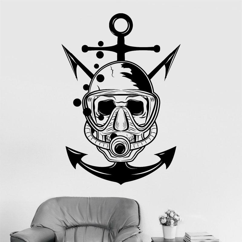 Skull Diver Marine Nautical Art Scuba Anchor Wall Sticker Vinyl Home Decor Room Bathroom Sea Ocean Decals Removable Mural 4055